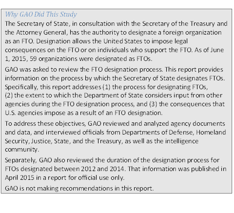 Description: Description: Why GAO Did This StudyThe Secretary of State, in consultation with the Secretary of the Treasury and the Attor¬ney General, has the authority to designate a foreign organization as an FTO. Desig¬nation allows the United States to impose legal consequences on the FTO or on indi¬viduals who support the FTO. As of June 1, 2015, 59 organizations were desig¬nated as FTOs.GAO was asked to review the FTO designation process. This report provides informa¬tion on the process by which the Secretary of State designates FTOs. Specifically, this report addresses (1) the process for designating FTOs, (2) the extent to which the Depart¬ment of State considers input from other agencies during the FTO designation proc¬ess, and (3) the consequences that U.S. agencies impose as a result of an FTO designa¬tion.To address these objectives, GAO reviewed and analyzed agency documents and data, and interviewed officials from Departments of Defense, Homeland Security, Justice, State, and the Treasury, as well as the intelligence community.Separately, GAO also reviewed the duration of the designation process for FTOs desig¬nated between 2012 and 2014. That information was published in April 2015 in a report for official use only.GAO is not making recommendations in this report.